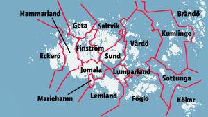 Karta över de åländska kommunerna.