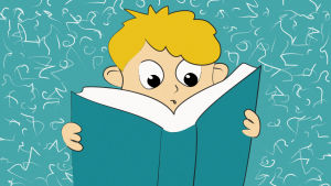 Piirretty kuva. Pieni poika lukee kirjaa.