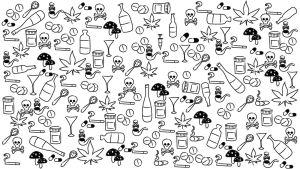 Piirretty kuva. Huumeita, alkoholia, pillereitä, sieniä, pääkallokuvia.