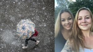 En person med paraply som skyddar sig mot slask samt en bild på Nicolina och Rafaela Sjöström som sköter en glasskiosk.