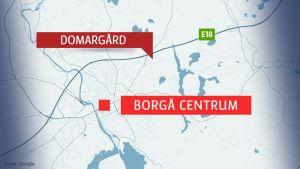 Karta över Domargård och Borgå