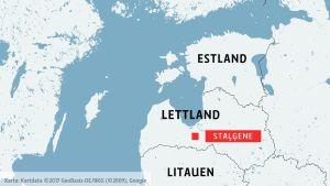 Karta som anger var Staļģene i Lettland finns