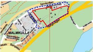 En vanligt karta över ett företagsområde i östra delen av Karis centrum, Malmkulla. Ett område som ska få ny plan avgränsat med rött.