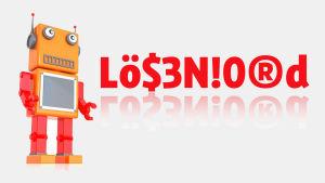 """Grafik som visar robot bredvid texten """"Lösenord""""."""