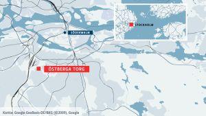 Östberga torg markerat på en karta.