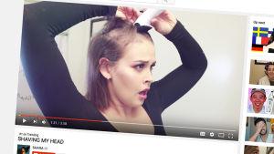 Skärmdump av Sara Forsberg som rakarsitt huvud i en Youtube-video.