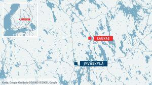 Karta som visar vad Laukas är beläget.