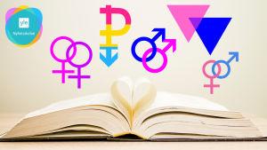Fler symboler för olika sexuella minoriteter ovanför en öppen bok. I vänstra hörnet Yle Nyhetsskolans logo.
