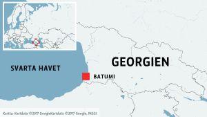 Karta där Georgien, Svarta havet och Batumi syns.