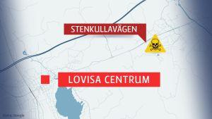 Karta över Lovisa och olycksplats i Tessjö
