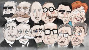 Finlands presidenter i karikatyr