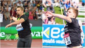 Antti Ruuskanen och Oliver Helander kastar spjut.