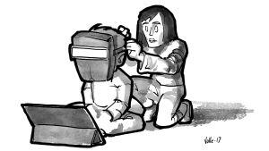 Vanhempi asentaa tablettia käyttävälle lapselleen hitsaajan suojamaskia.