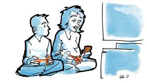 Äiti ja poika pelaavat konsolilla yhdessä, mutta äiti vilkuilee puhelintaan.