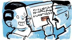 Poika ojentaa tablettia. Isä silmät sidottuina painaa REGISTER-nappia tuntemattomalla kielellä kirjoitetuista käyttöehdoista.