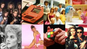 kollage med rubiks leksaker, kändisar och klädstilar från 1980-talet
