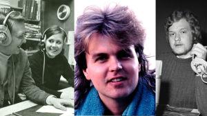 kollage av porträtt på tre män och en kvinna
