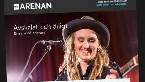 Screenshot av ett elektroniskt nyhetsbrev där man på bild ser Moa Lignell spela gitarr.