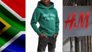 Ett kollage med Sydafrikas flagga, dem kontroversiella H&M-reklamen och H&M:s logo.