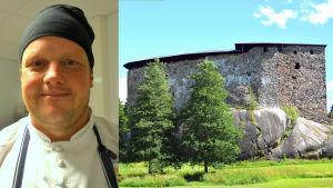 Ett bildcollage med kocken Michael Björklund till vänster och Raseborgs slottsruiner till höger.