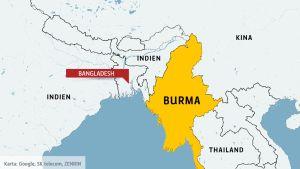 Karta över Burma och Bangladesh.