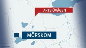 Karta över Mörskom och Artsjövägen