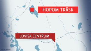 Karta över Hopom träsk och Lovisa