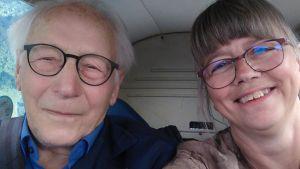 Bruno Österlund med dottern Sonja Mattila på flygäventyr i Tyskland