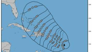 Uppskattning av orkanen Marias framfart, gjord av USA:s nationella hurrikancenter.