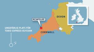 En karta över områdena Cornwall och Devon i södra Storbritannien, som även markerar platsen där containerfartyget Tokio Express förlorade sina containrar.