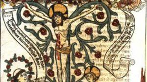 Predikanten Heinrich Seuse har en vision.  Ur Heinrich Suso: Das Buch genannt Seuse. Augsburg, 1482.