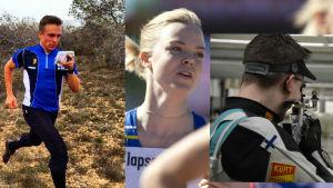 Tre idrottare. Daniel Forssell, Jonna Berghem och Joni Stenström.