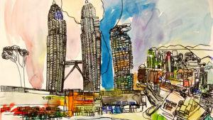 teckning av stad med skyskrapor