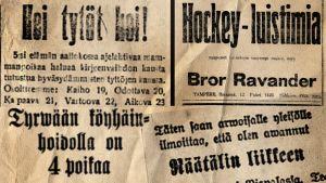 Vanhojen sanomalehtien otsikoita