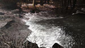 Aku-myrsky huuhtoo vettä rantaan Lauttasaaressa Helsingissä 7. tammikuuta
