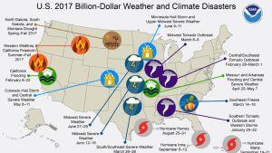 USA:n kartta, johon on merkitty vuoden 2017 pahimmat tuhot.