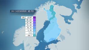 Lumisademäärät kartalla Suomessa 17. tammikuuta.