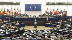 Euroopan parlamentin täysistunto tammikuussa 2018.