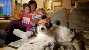 Penttilän perhe, äiti Liisa, Jade ja Helmi istuvat sohvalla ja lukevat kuvakirjaa. Perheen koira makaa vieressä.