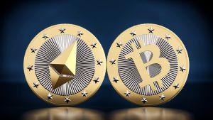 Bitcoin ja Ethereum virtuaalivaluutta.