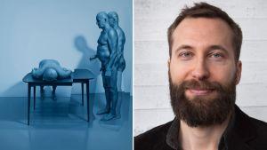 Kari Vehosalo ja hänen teoksensa Three figures on a stage.