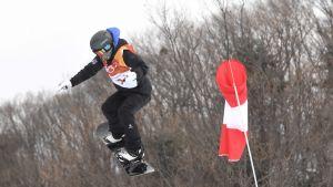 Enni Rukajärvi Korean olympialaisten slopestyle-harjoituksissa.