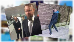 Kuvapari, jossa ensimmäinen kuva on edustava kuva kahdesta miehestä puku päällä. Toisessa kuvassa mies pissaa seinään.