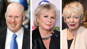 Näyttelijät Jennifer Saunders, Matt Lucas ja Alison Steadman.
