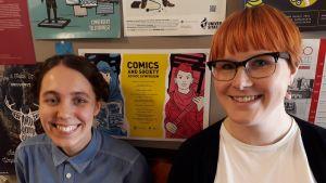 Tohtorikoulutettavat Anna Vuorinne ja Laura Antola.