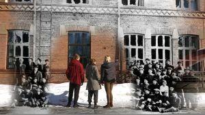 Kuvamanipulaatio Tampereen yhteiskoulun lukion julkisivusta 1918 ja nyt