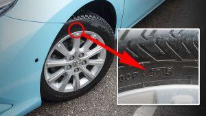 Dot-merkintä autonrenkaassa.
