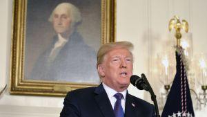 Yhdysvaltain presidentti Donald Trump piti puheensa Valkoisessa talossa perjantaina myöhään Yhdysvaltain aikaan.