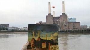 Pink Floydin levynkansi, jossa on sika taivaalla savupiippujen välissä, ja sama näkymä taustalla.