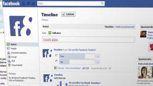 Kuvakaappaus Facebookin sivusta, jossa voi tykätä timeline-toiminnosta.